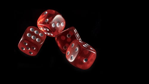 Shot of dice thrown. Concept of gambling