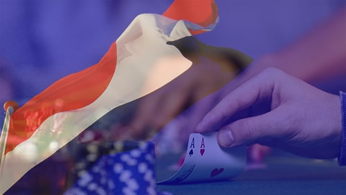 Dutch flag with poker cards held on the background
