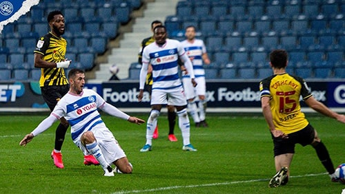 Queens Park Rangers (blue and white hoops) were sponsored for the day by national charity YGAM to promote Safer Gambling Week.