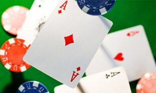 Still aerial shot of poker cards and chips thrown in the air