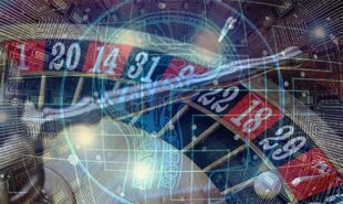 Casino roulettes against an AI Technology background