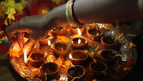Lit candles during the Diwali Festival
