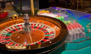 Casino with wheel and chips