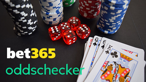 bet365 and oddschecker logo with playing cards, dicesa and casino chips on background