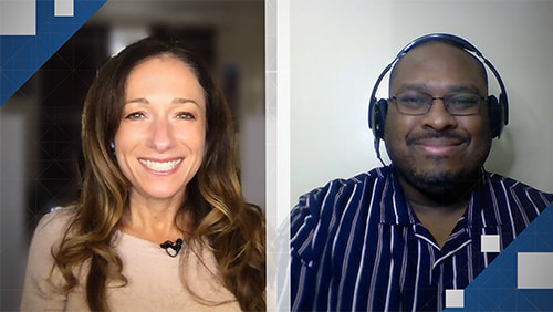 Photo of John Brackens and Becky Liggero Fontana on a split screen interview