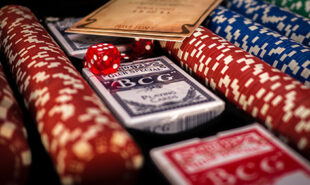 Gaming chips, Dice and cards