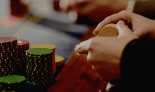 People playing poker on a table