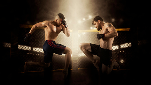 Two men fighting on a MMA ring