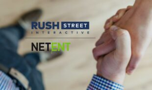 RushStreet Interactive and NetEnt Logos