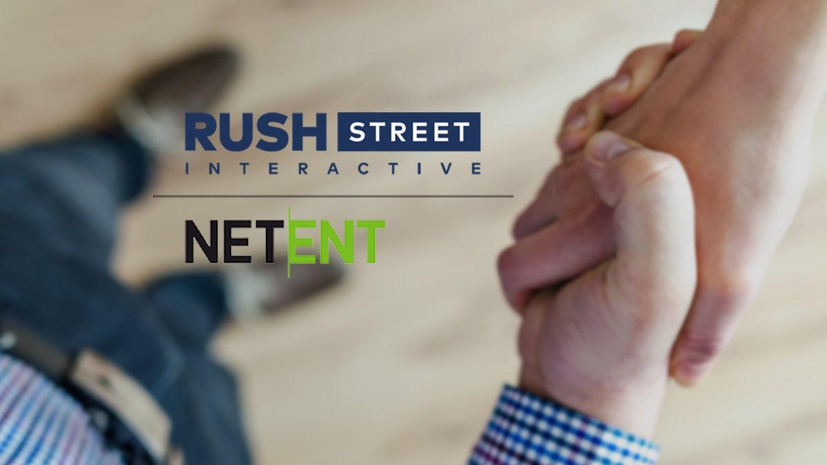 RushStreet Interactive and NetEnt Logos