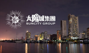 Suncity group logo with Manila city on the background