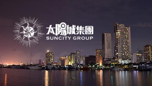 Suncity group logo with Manila city on the background