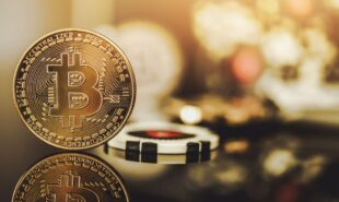 Bitcoin and poker chips image