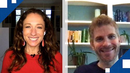 Photo of Becky Liggero and Jon Kaplowitz during their Calvin Ayre Interview