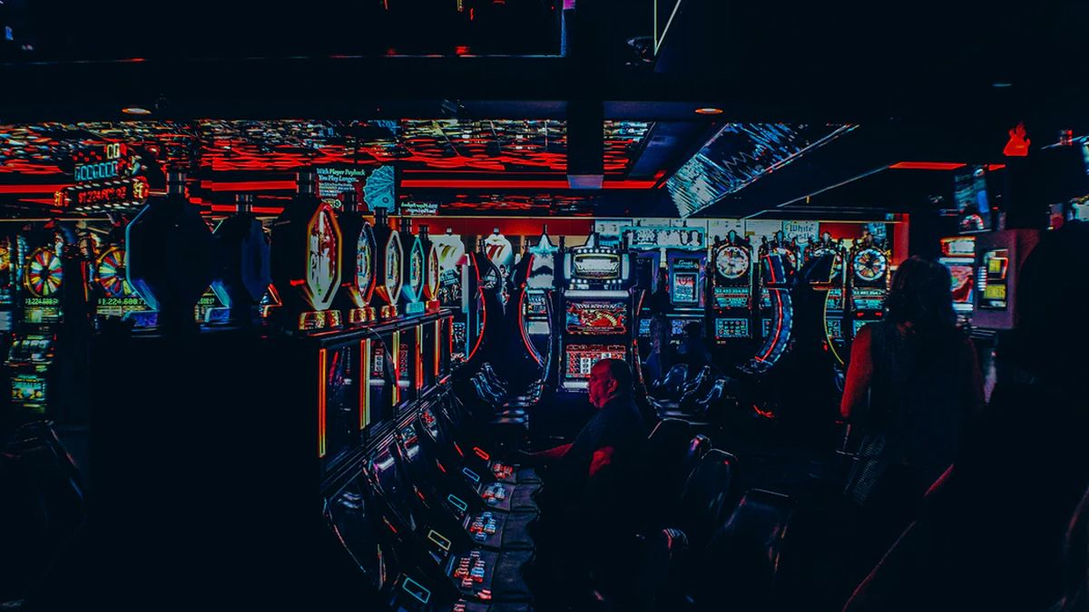 multicolored lights in a casino