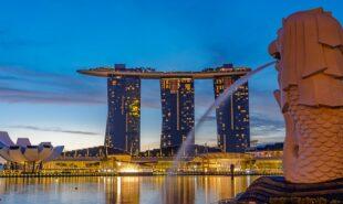 Singapore Merlion Park downtown Singapore business district at sunrise