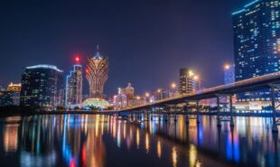 Night view of Building and the skyline with casino of Macau,China