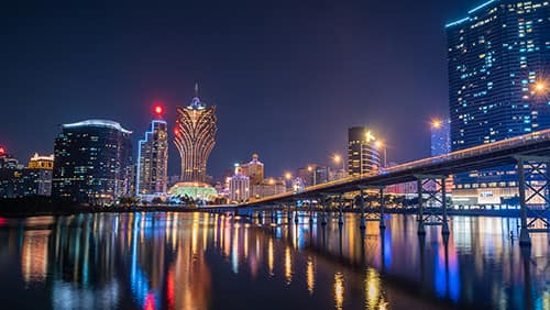 Night view of Building and the skyline with casino of Macau, China