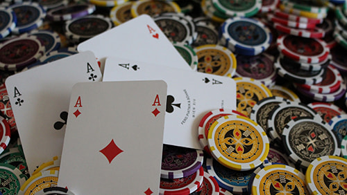 Multiple chips and playing cards