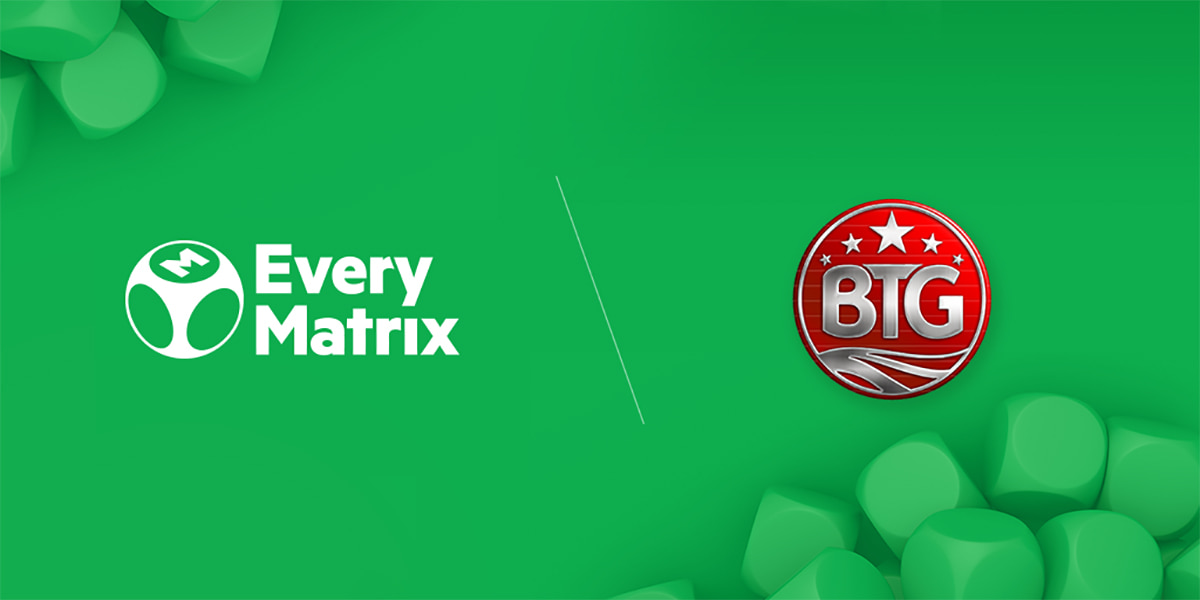 EveryMatrix and Big Time gaming logos with a green background
