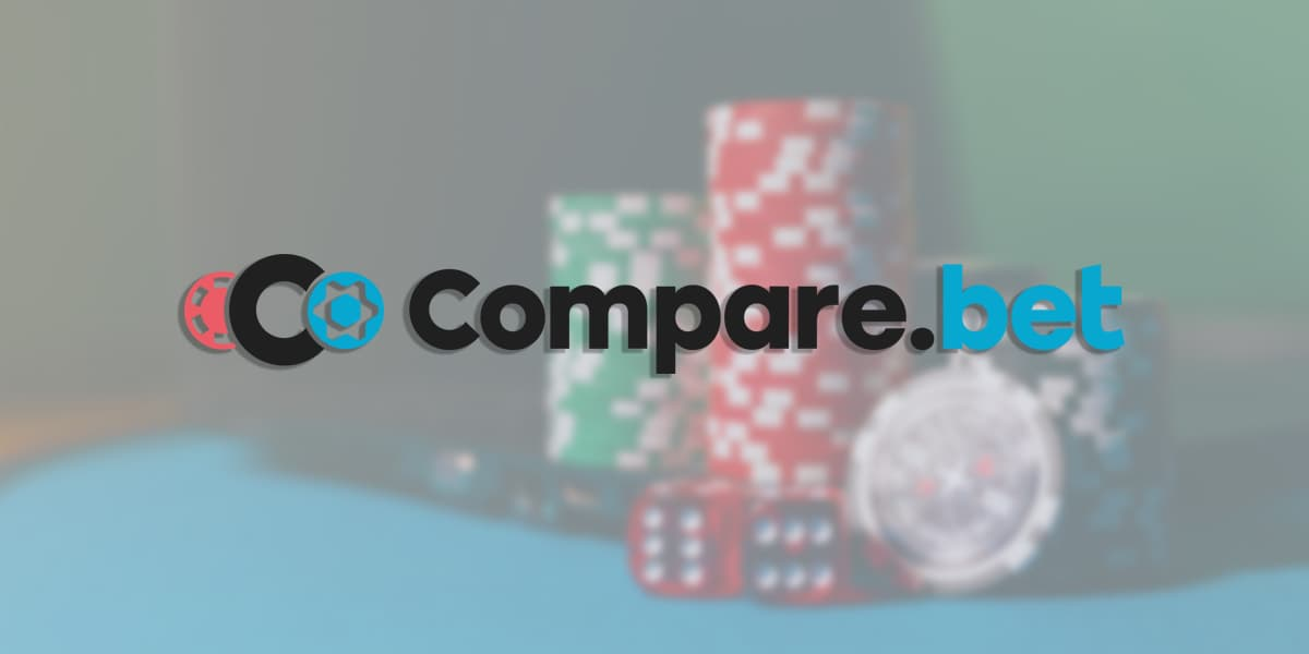 Comparebet logo with chips and a dice at the background