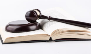 Gavel in top of a book
