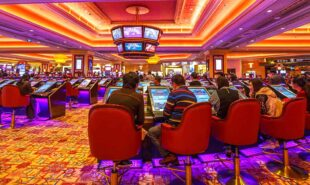 Casino hall with game machines