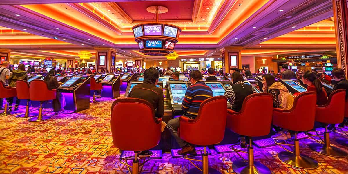 Casino hall with game machines