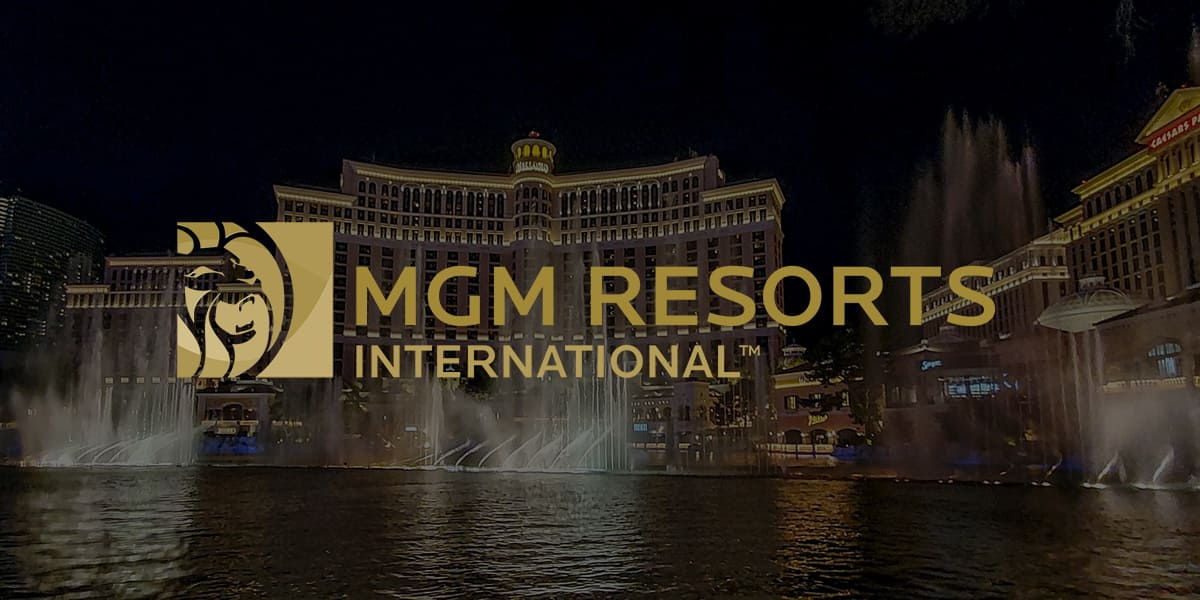 Logo of MGM resorts with Las Vegas on the background