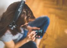 A girl listening music in her headphones
