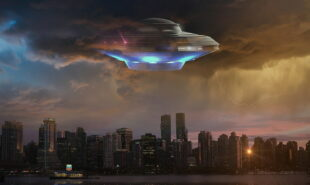 An unidentified flying object flying over a city