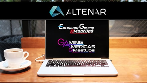 Logos of Altenar, European Gaming Meetups and Gaming America Meetups flashed on a laptop