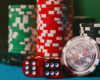 Zoomed photo of poker chips and dice