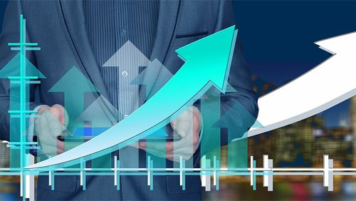 Businessman with growth graph