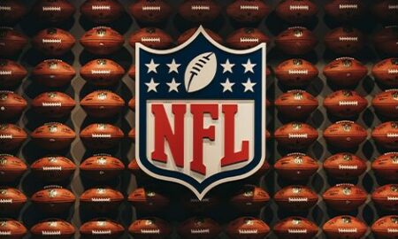 NFL logo with rows of footballs