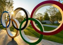 The five ring symbol of the Olympic Games