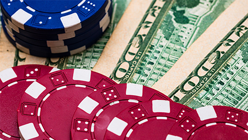 Casino Chips with money