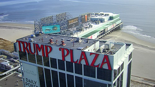 Trump Plaza on the boardwalk in Atlantic City, New Jersey