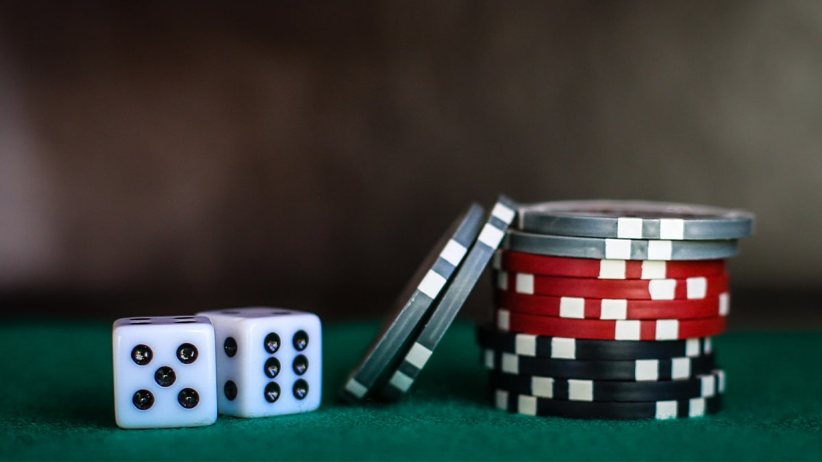 gambling dice and chips