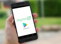 Mobile phone scree, degree 53 and google play logo