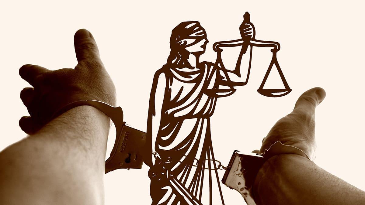 Justitia, Horizontal, Hands, Handcuffs, Suspect, Crime