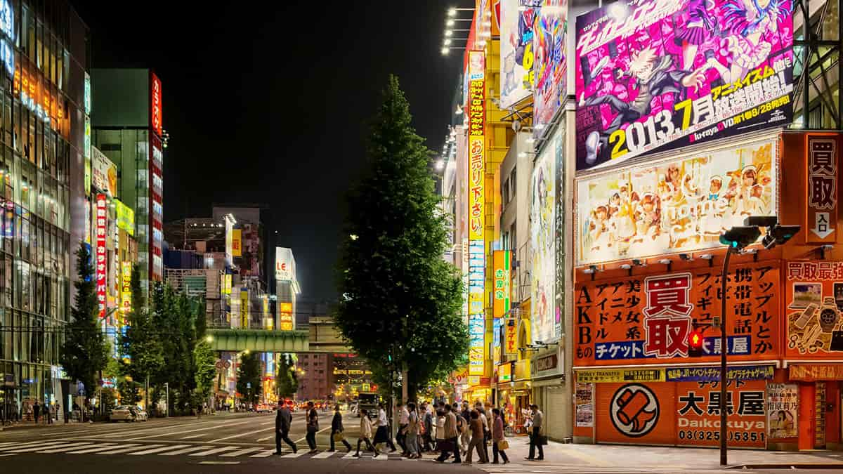 Streets at night in Japan
