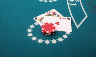 Casino cards and chips on a table