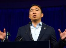 Andrew Yang speaking at the Democratic National Convention summer session in San Francisco, California