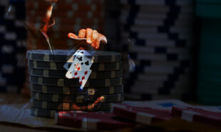 card dealer with poker chips background