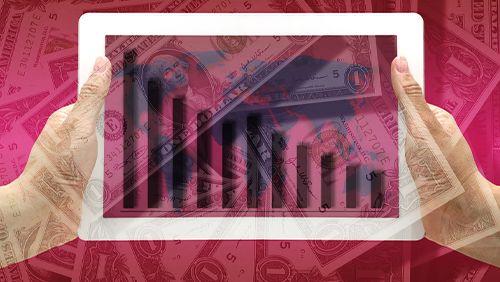 dollar revenue plmmeting concept
