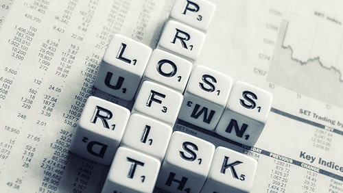 "Different letter tiles spelling ""Profit"" , ""Loss"" and ""Risk"""