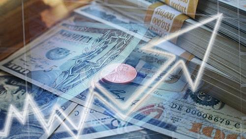 Panah putih naik dengan latar belakang Dolar AS