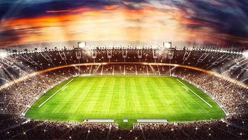 Football stadium with light effects.