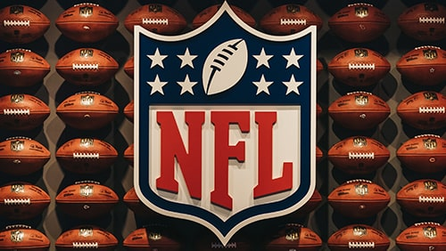 Rows of american football balls in NFL